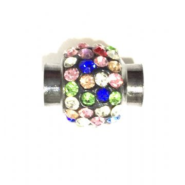 6mm- 15mm*12mm Multi colour stone pave crystal magnetic clasps - gun metal